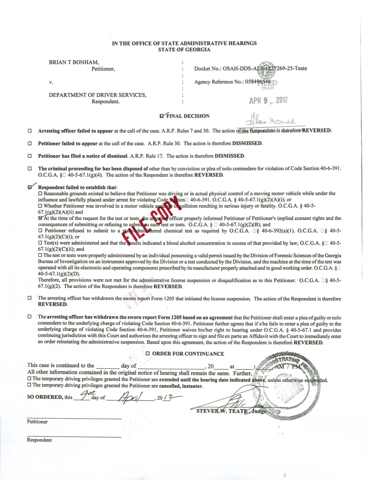 Golfer Wins DUI Refusal License Suspension
