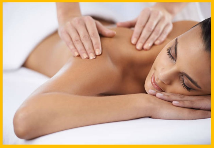 Woman recieving mobile massage in Lawrence and KCMO