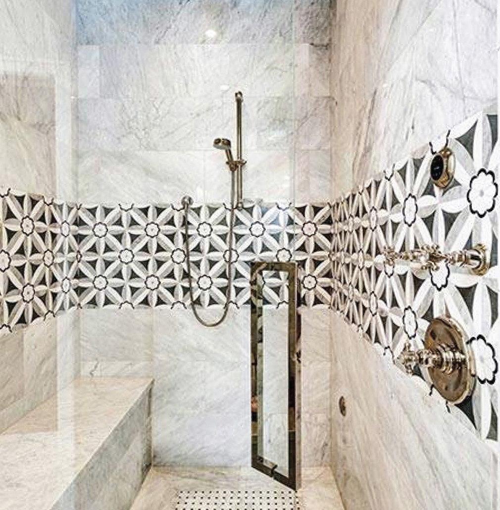creating a modern bathroom design with mosaic tiles savannah surfaces