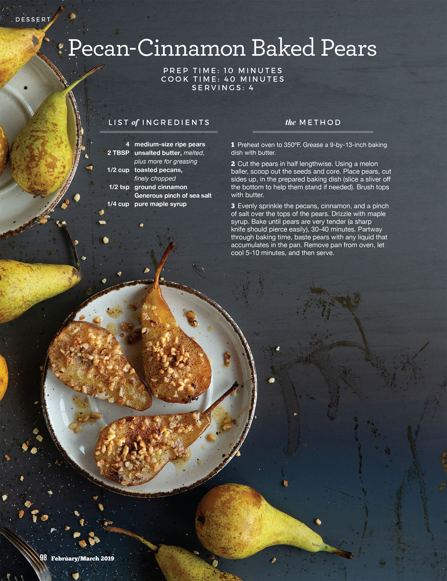 Recipe Photography - Baked Pears for Paleo Magazine