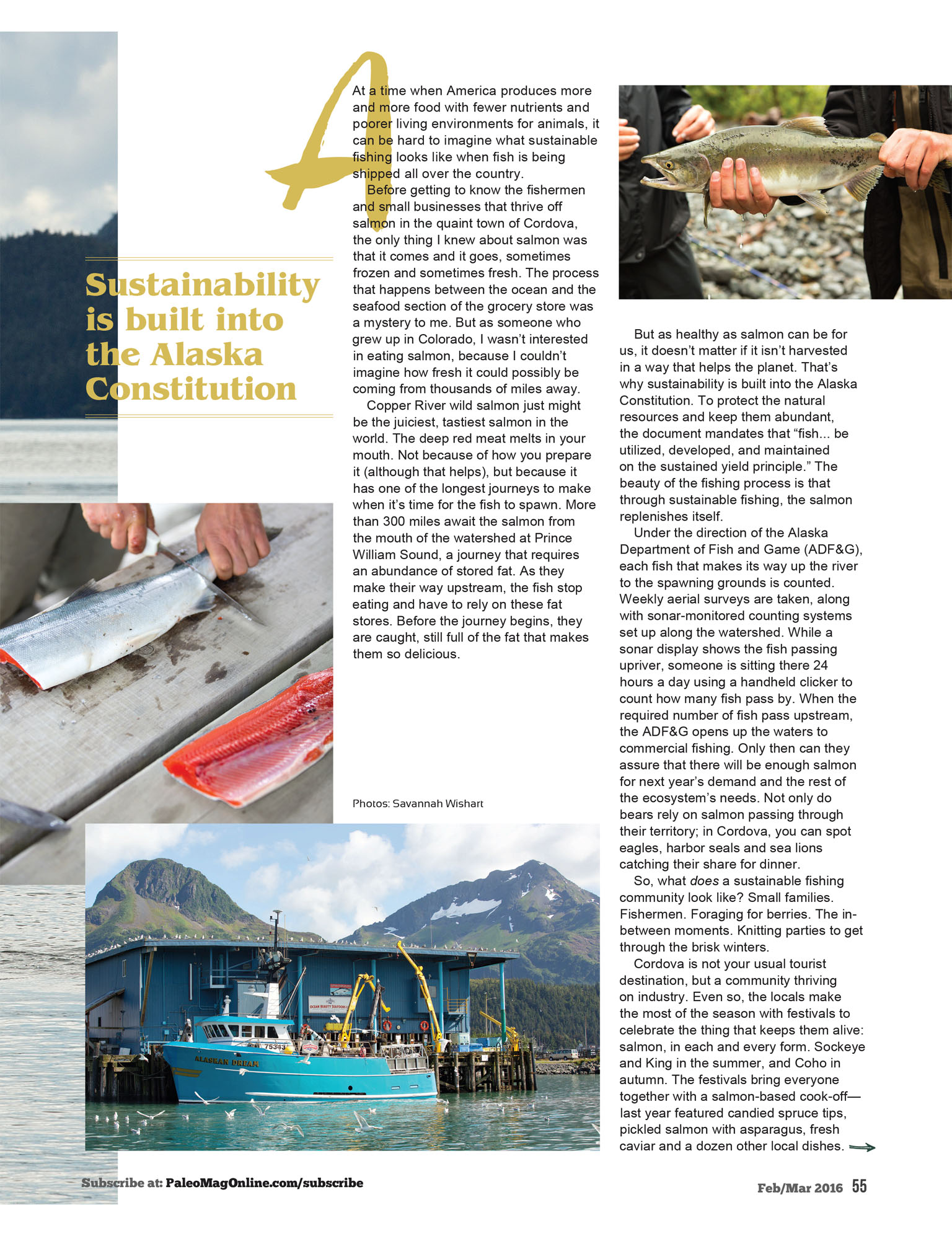 Article featuring Copper River Wild, Cordova Alaska for Paleo Magazine