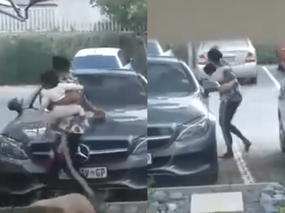 Angry woman scratches husband Abiola Mercedes Benz