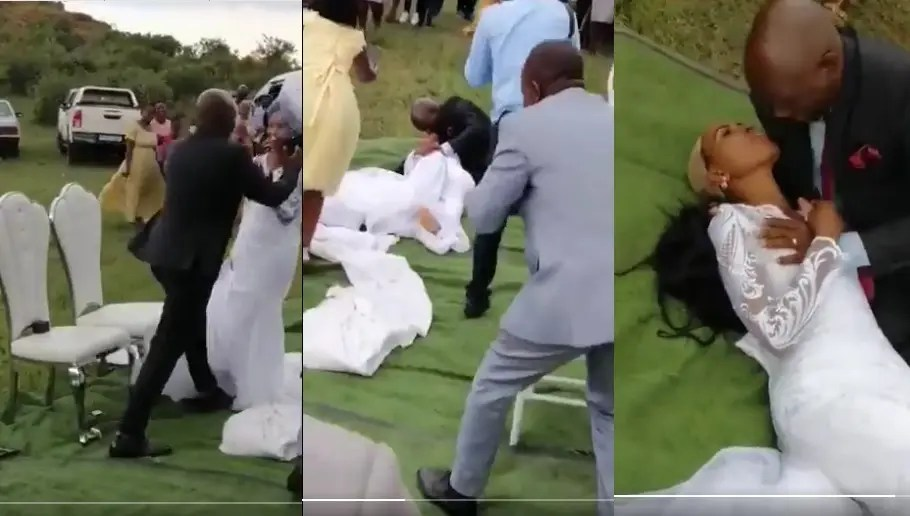 Video; Tackle on the bride, wig removed: Inside SA wedding of the year