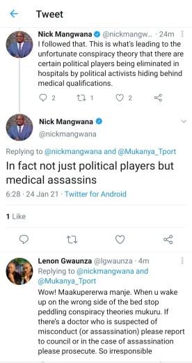 Medical Doctors killing Political Figures Nick Mangwana