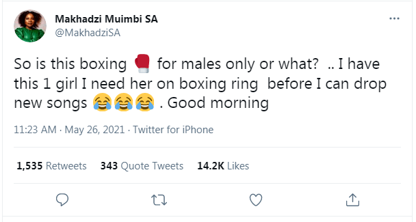 It's about to go down as Makhadzi prepares to challenge her rival to a boxing match