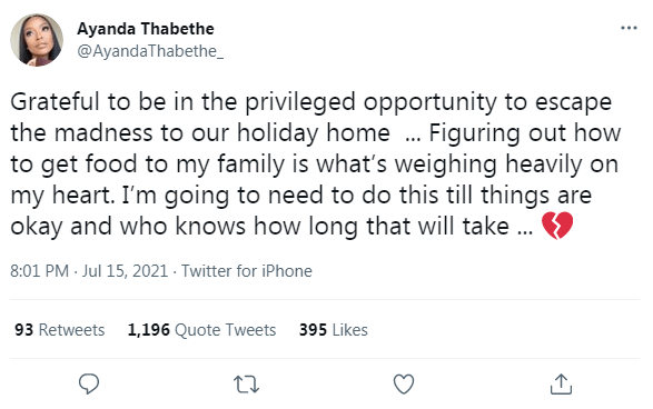 Mzansi Tweeps blasts Ayanda Thabethe for saying she is happy to escape South Africa during this period