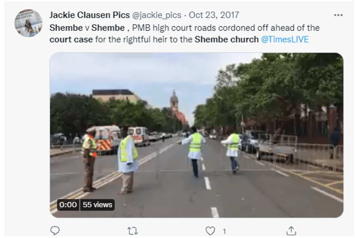 Tweet about Shembe church court case