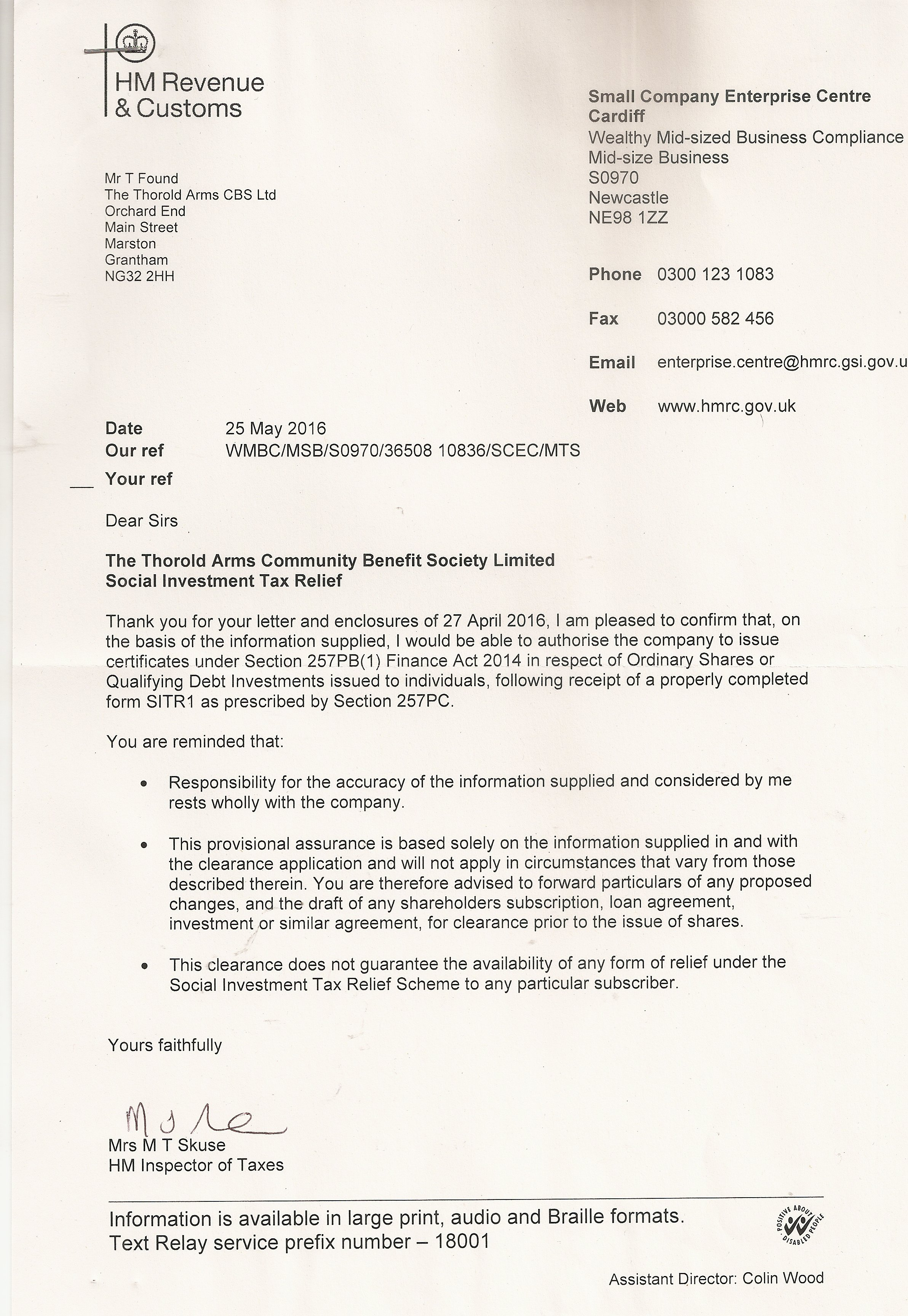 20160525 SITR Tax Rebate Letter from HMRC