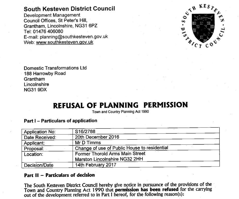 Planning Refusal