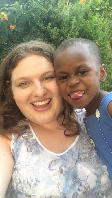 Making funny faces with Salma from Tanzania