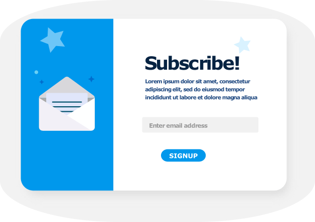 Subscription form to build email list for email marketing