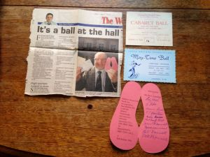 Tickets from the very first and later balls, donated by Frank Martin