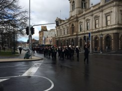 Beaufort Brass Band with additional members from Ballarat & Creswick bands lead the march from the Town Hall to the Civic Hall.