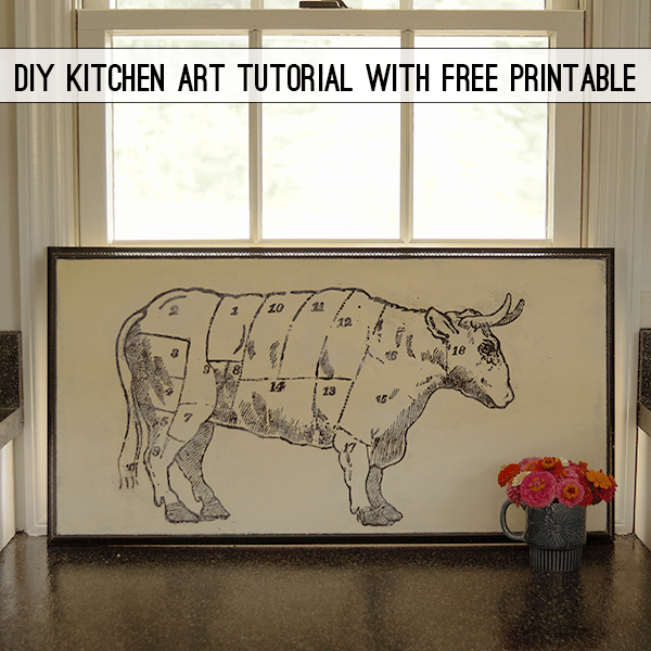 Diy Butcher S Chart Cow Vintage Kitchen Art With Free Graphic