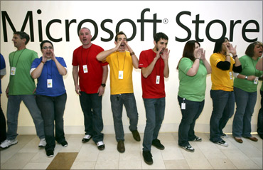 Employees of the new Microsoft Store.