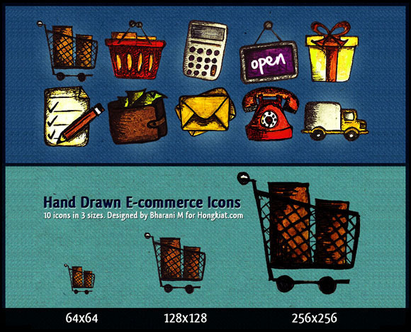 10 Hand Drawn E-Commerce Icons some আইকনের মেলা