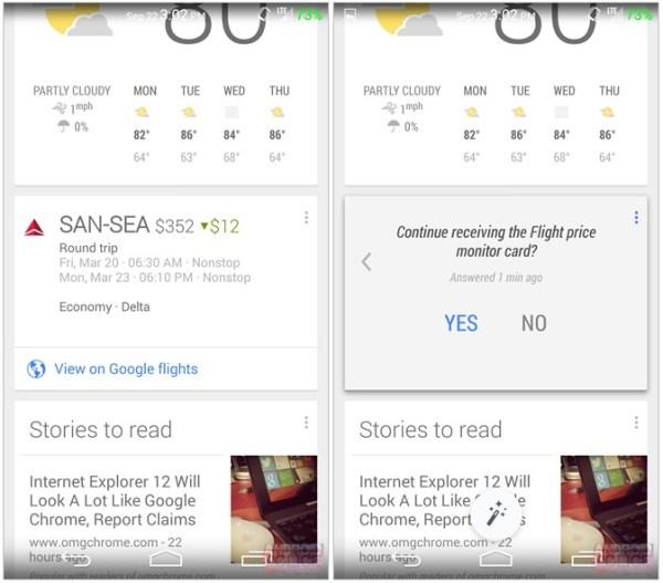 Google Now Screenshot  via