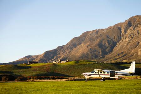 Light Aircraft Used For Skydiving In New Zealand Field
