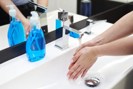 Hands washed with a cleaning product