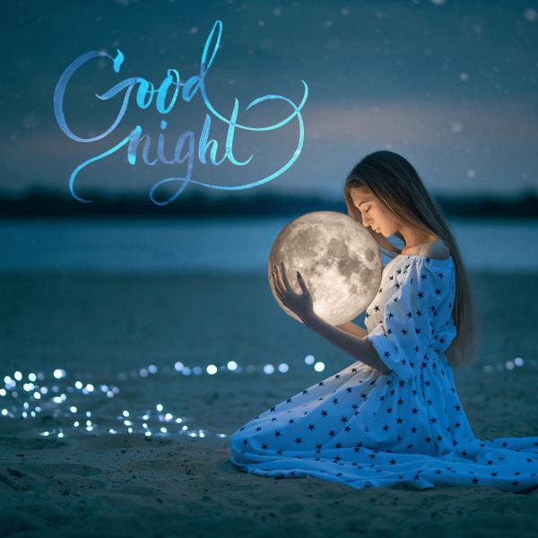 Good Night Girl Holding Moon