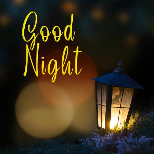 Good Night, Lantern With Lit Candle At Night