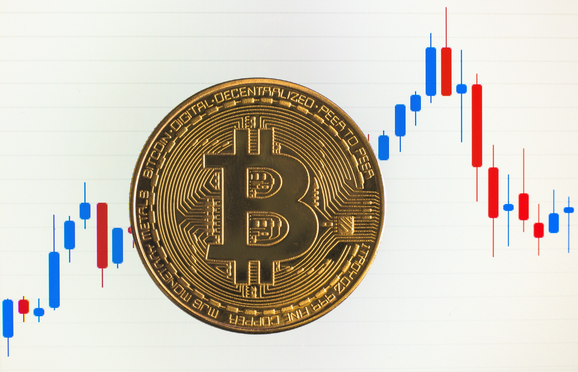 Bitcoin. Physical bit coin. Digital currency. Cryptocurrency. Golden coin with bitcoin symbol