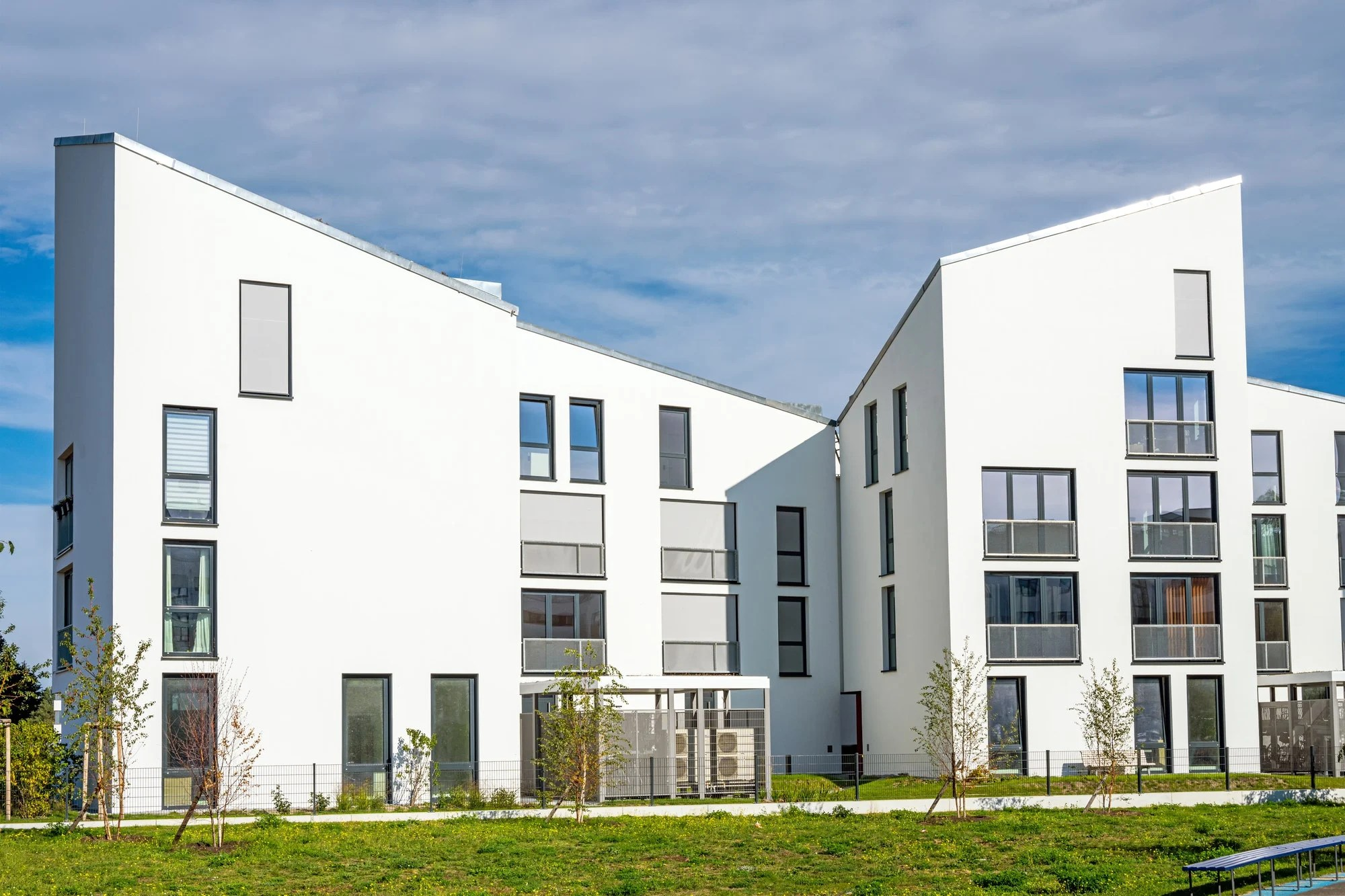 White modern townhouses