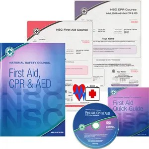 First Aid and CPR workbook, guide, DVD and certificates