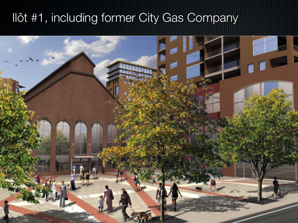 View looking south on proposed first lot of project, including City Gas building and new residential tower