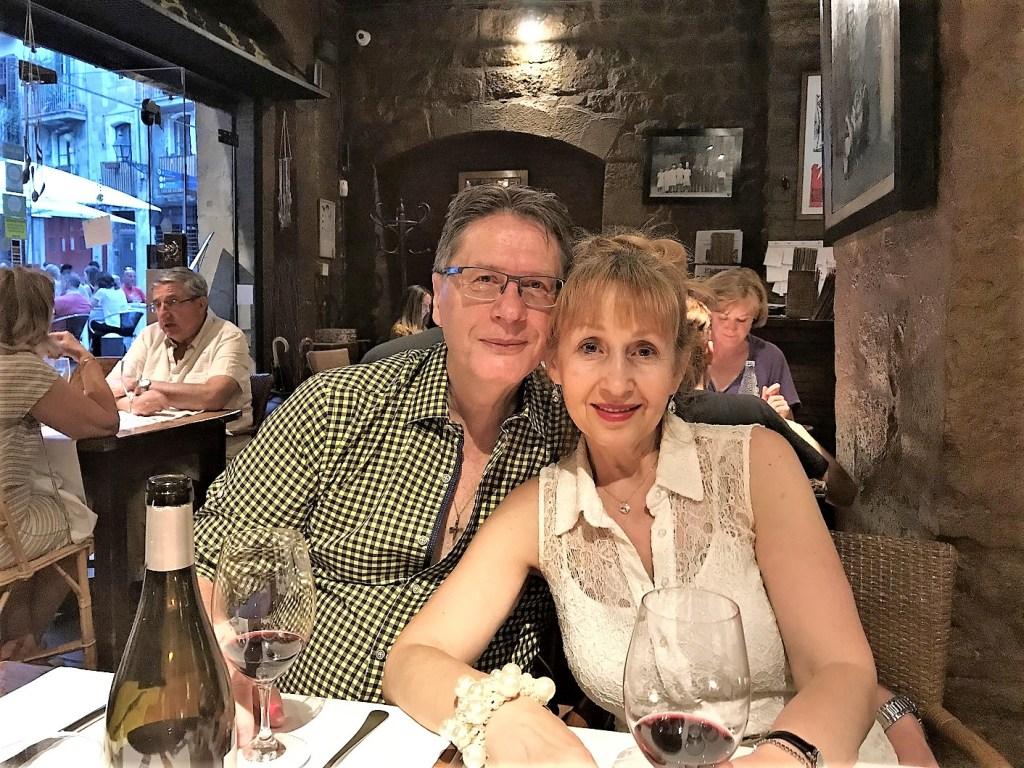 Dinner at Gothic Quarter's restaurant in Barcelona, Spain