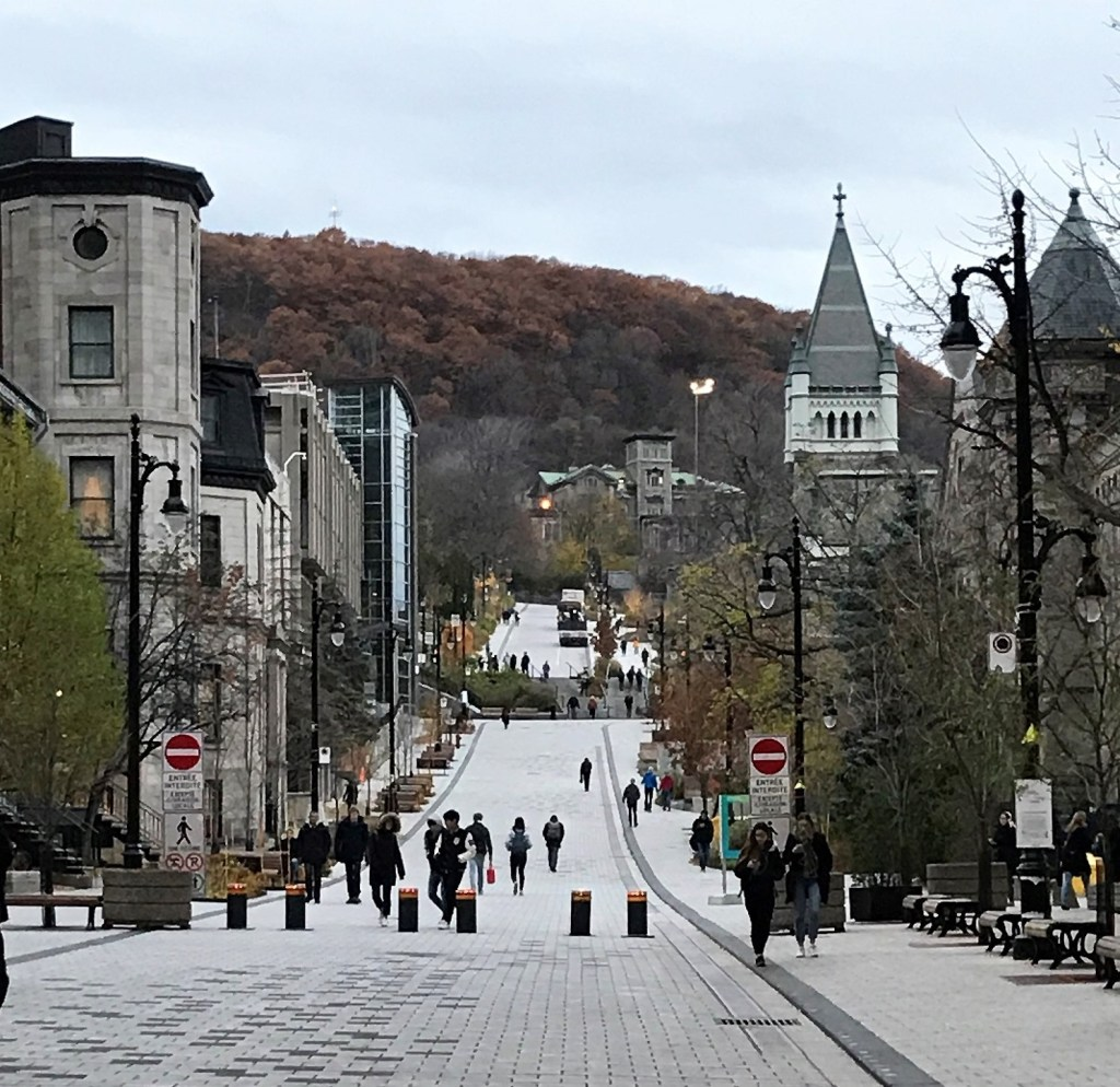 People walking up the street in Montreal to get to Mont Royal