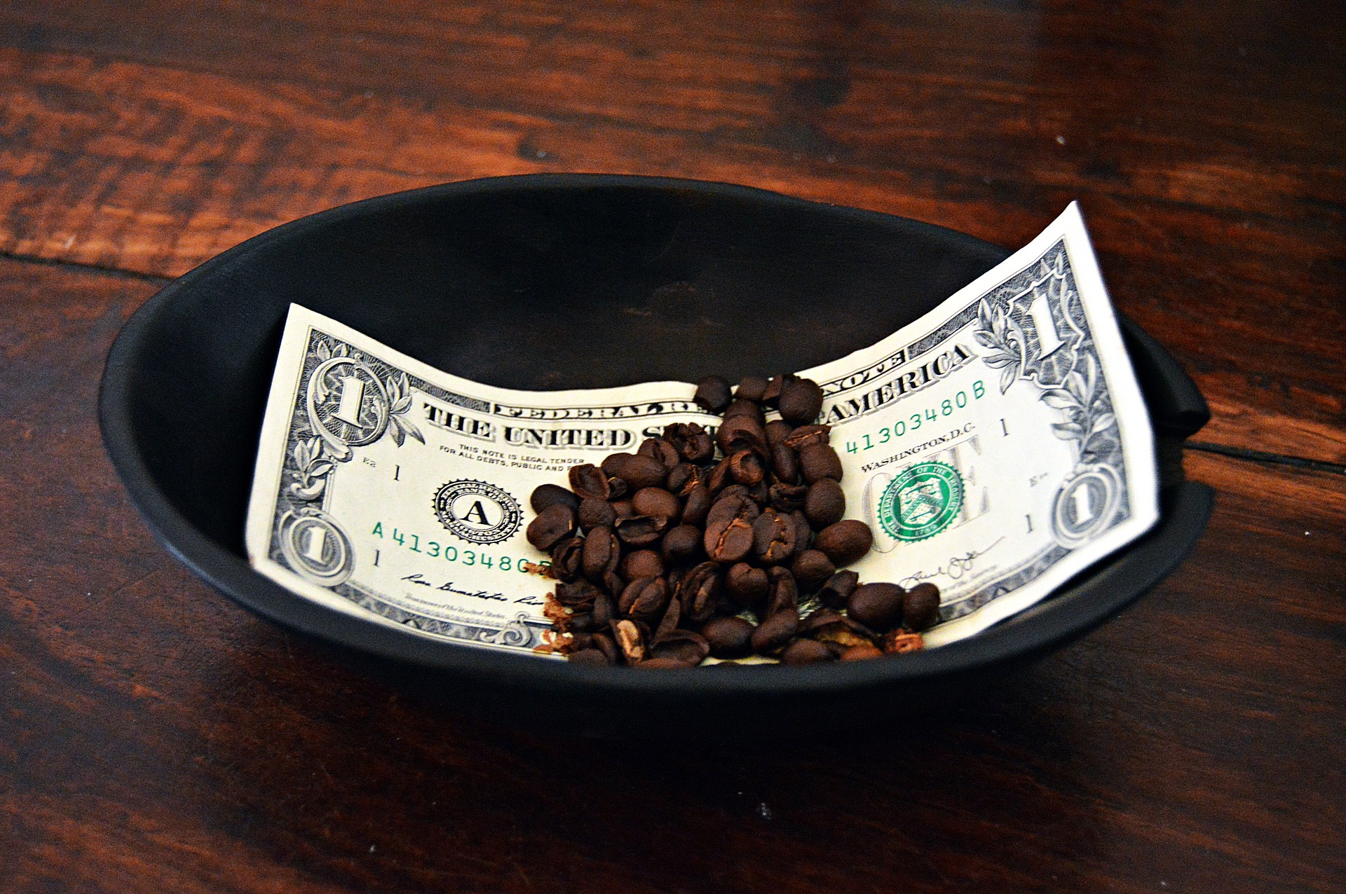 a dollar bill with coffee beans in a bowl-benefits of 401ks