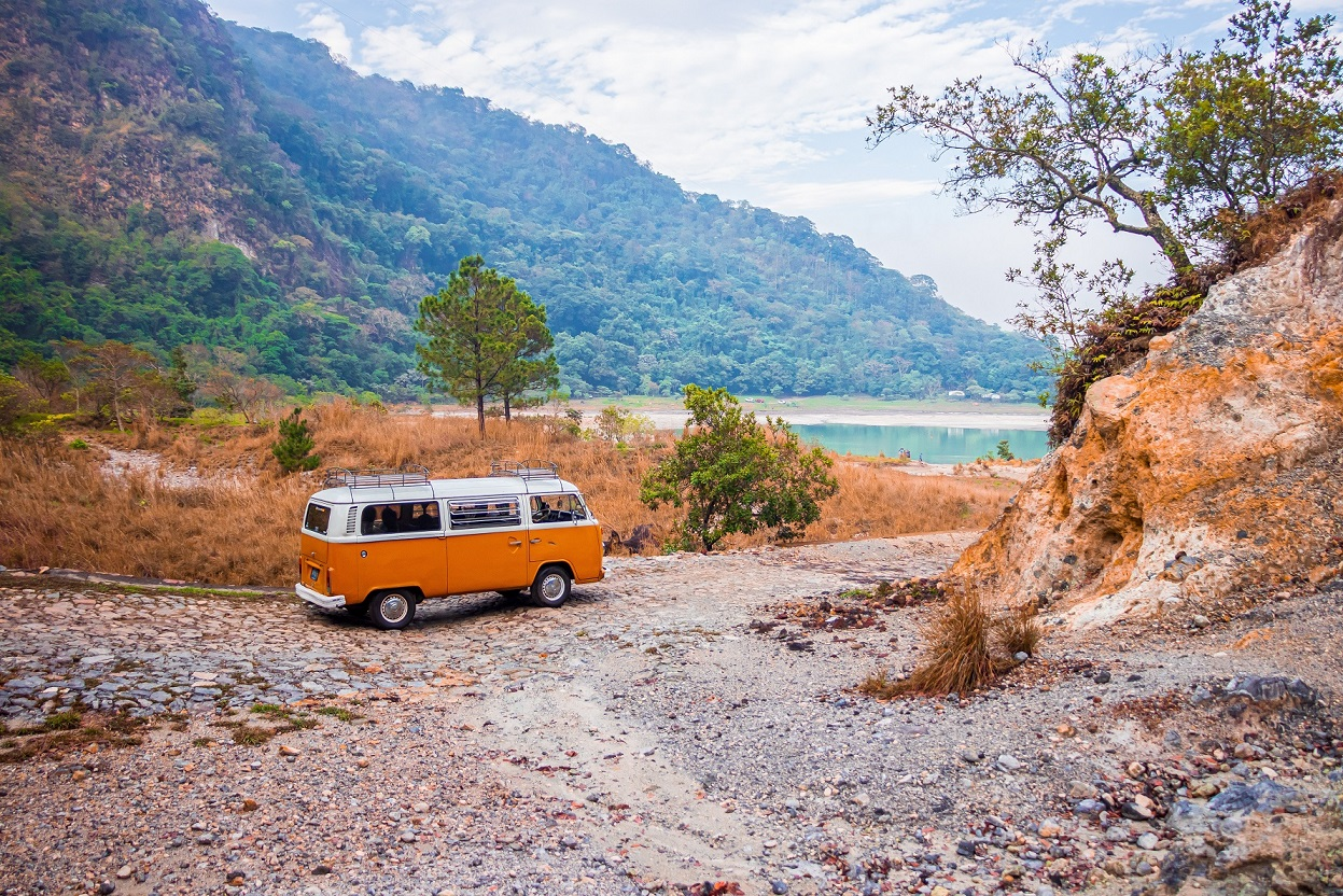 mini-bus on the road - cut the costs of travel  in retirement