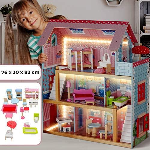 Infantastic Casa delle Bambole in Legno - 76x30x82cm, 3 Livelli di Gioco,...