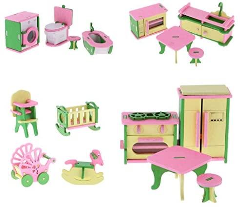MagiDeal 4 Set Di Casa Bambola Miniatura Stanza Bagno Cucina Mobili...