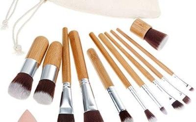 Rovtop Set 11 Pennelli per Trucco Professionali di Bambù con 1 Spugnetta…