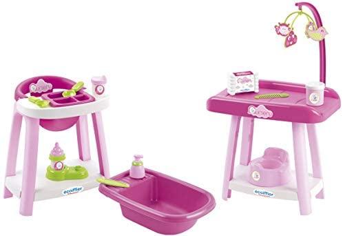 Smoby- Set Nursery con seggiolone, Multicolore, 7600002878