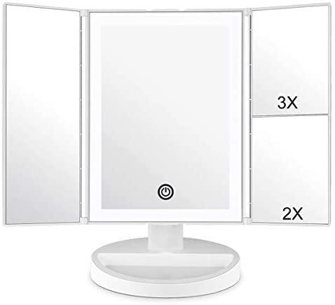 WEILY Specchietto per Il Trucco con Touch Screen Tri-Fold, ingrandimento 1x...