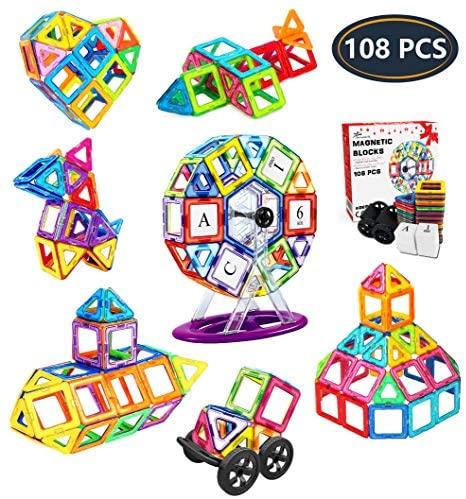 Jasonwell 108 Pezzi Blocchi Costruzioni Magnetici Magnetiche Giocattoli per...