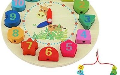 QH-Shop Orologio In Legno Giocattoli ,Orologio Educative con Corda Numeri e…