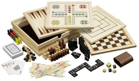 Philos 3099 - Set di giochi da tavolo in legno, 10 combinazioni di giochi,...
