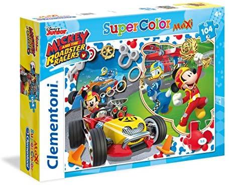 Clementoni- Mickey Roadster Racers Supercolor Puzzle Maxi, 104 Pezzi, 23709