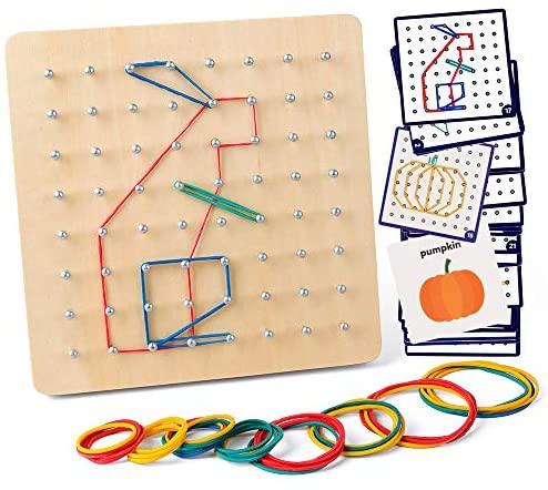 Coogam Geoboard di Legno con Carte di Pattern di attività e Bande di Gomma...