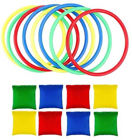 OOTSR 16pcs Nylon Bean Bags e Anelli di plastica, Toss Game Set per Bean...