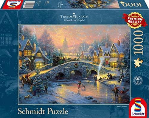 "Schmidt Spiele 58450 - Thomas Kinkade ""Villaggio invernale"", Puzzle da 1000..."