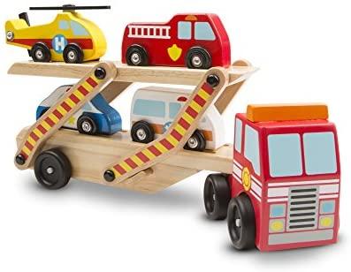 Melissa & Doug trasportatore Emergenza in Legno con 1 Camion e 4 Veicoli di...