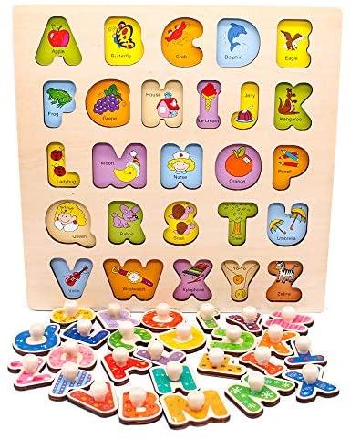 Nuheby Puzzle Bambini Alfabeto Giocattoli Legno 3 4 Anni, Gioco Incastri in...