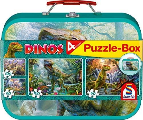 Schmidt- Puzzle Dino Box 2 x 60 e 2 x 100 Pezzi, 56495
