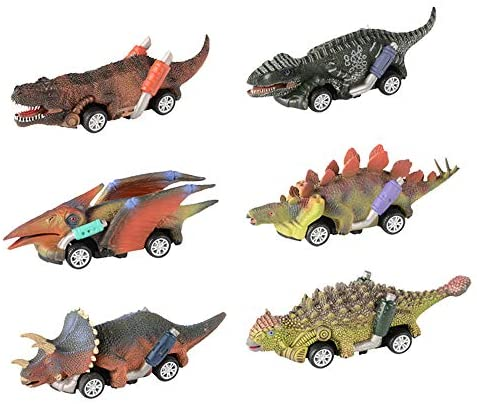Wenosda 6 Pezzi Tirare Indietro Automobili di Dinosauro Mini Dino Camion...