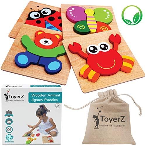 ToyerZ Legno Puzzle per i Bambini, Giocattolo educativo per 1 2 3 Anni di...